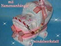 Windelkinderwagen + Namensanhänger Windeltorte 236