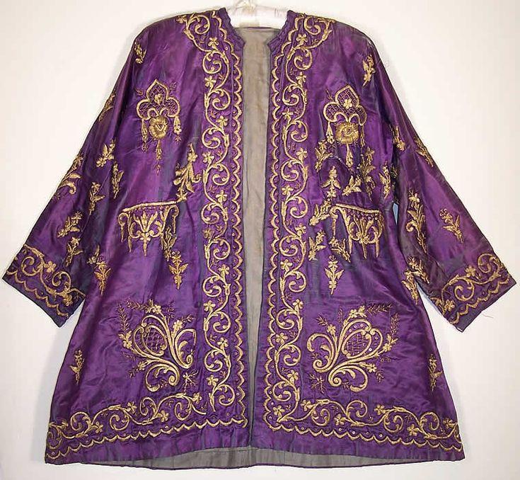 ottoman embroidery | Ottoman Turkish Gold Embroidered Purple Silk Jacket Close up.