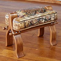 Tornillo wood and leather stool, 'Golden Maze'