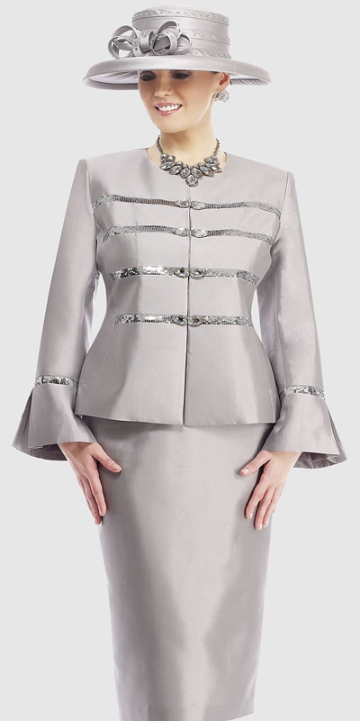 $298.90 Womens Light Silver or Lime Silk 2pc Formal Skirt Suit By Moshita Luxe 8 to 24