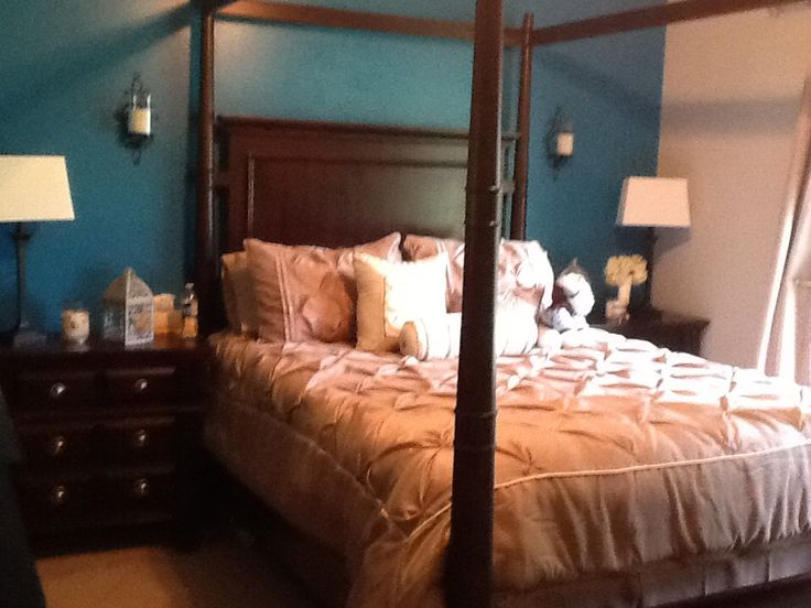 Teal Accent Wall With Pale Gray Surrounding Walls Dark Cherry Wood Furniture  Cream Light Blue And Yellow Accent Decor.