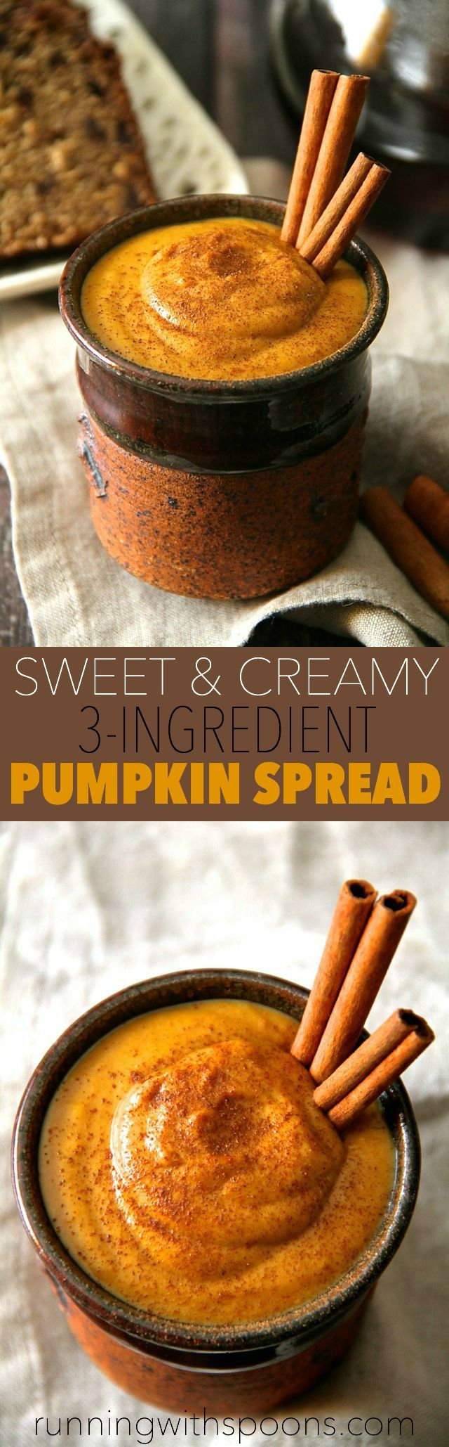 Sweet and Creamy Pumpkin Spread -- made with 3 ingredients and in under 2 minutes, this pumpkin spread is the perfect way to add a touch of fall flavour to your favourite meals and snacks! Vegan, gluten-free, and Paleo friendly    runningwithspoons.com #pumpkin #fall #vegan
