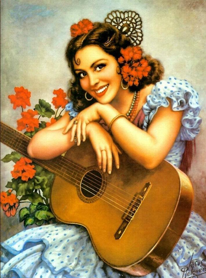 bonita, guitarra, traje azul y flores.