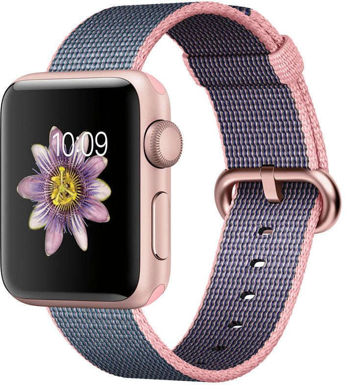 Apple Watch Series 2 38mm Rose Gold Aluminum Case with Light Pink/Midnight Blue Woven Nylon Band
