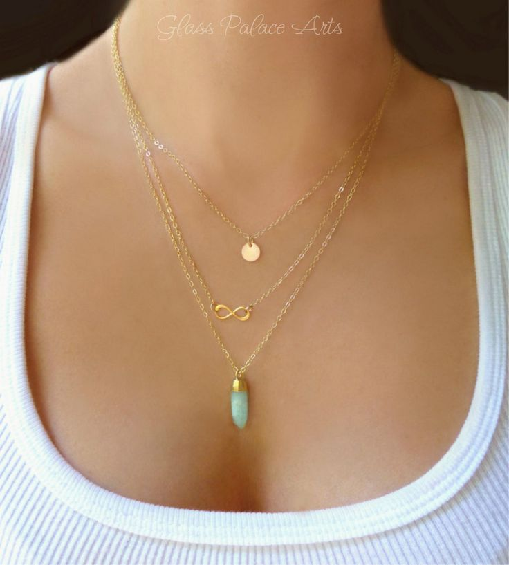 Three Layer Amazonite Necklace Three times the style...simple and dainty pendants dangles from a sparkling multi strand necklace - One 14k gold filled or sterling disk, One gold vermeil or sterling in