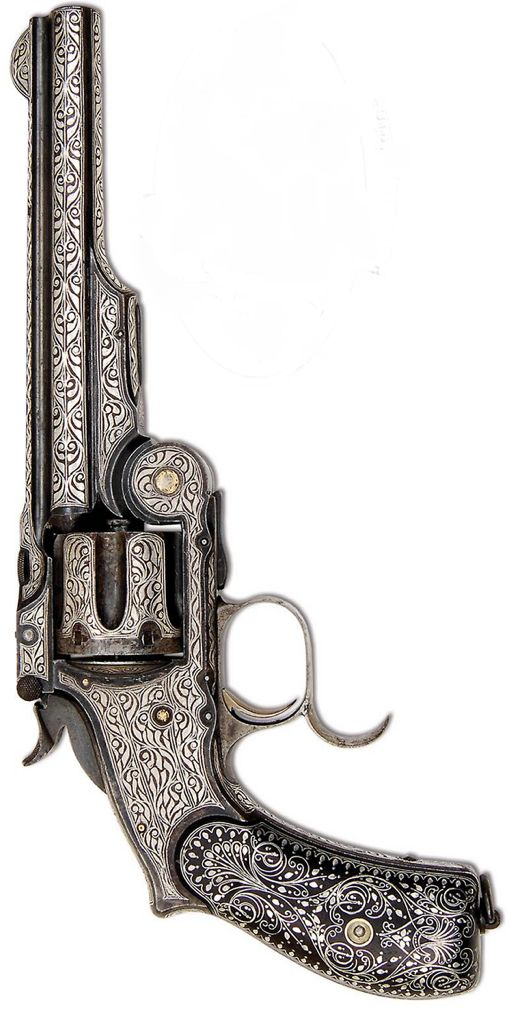 Extremely rare Turkish contract Smith & Wesson Russian single action revolver with silver damascened decorations. Late 19th Century