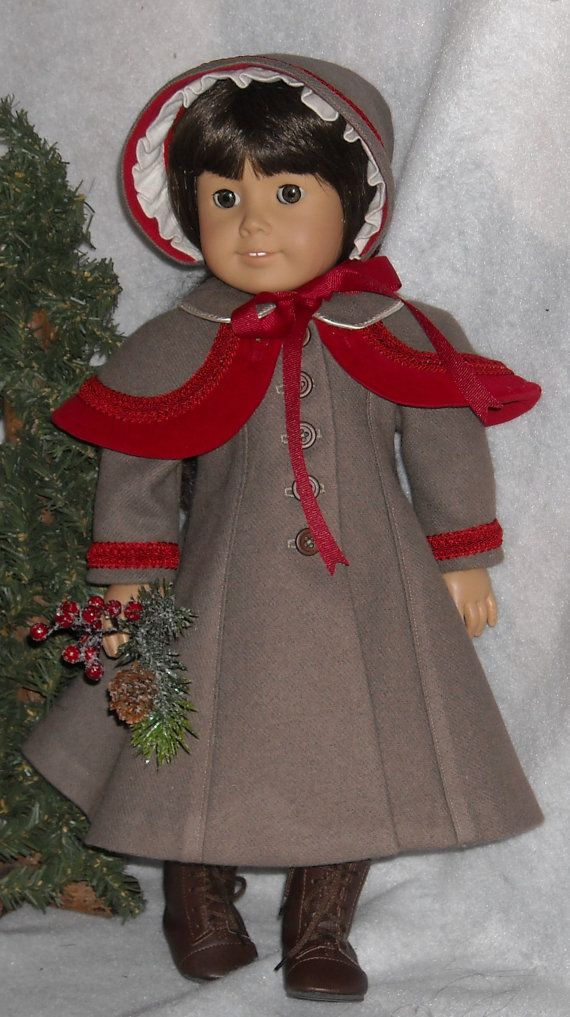 Wool Coat with Capelet and Bonnet for 18 by SugarloafDollClothes