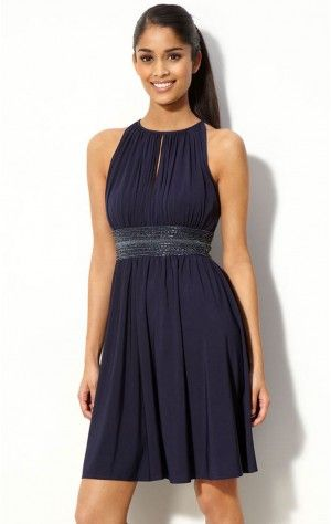 Allure Sheath Knee-length Halter Dark Navy Chiffon Dress