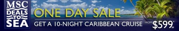 Hot Deal of the Day!    $599 10-Night. Caribbean Cruises . One Day Sale. Book by 10/18!     Call AnitaMarie for details 202-277-8790