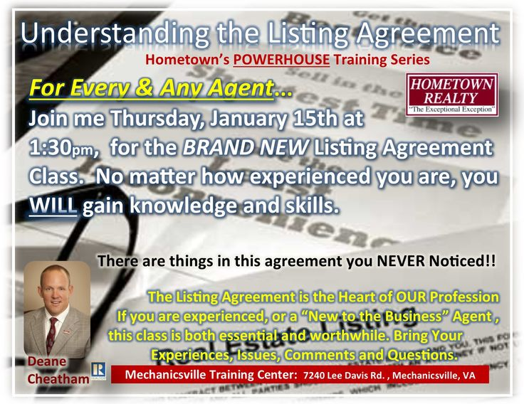 Use The Listing Agreement Correctly To Make Your Life As A Listing