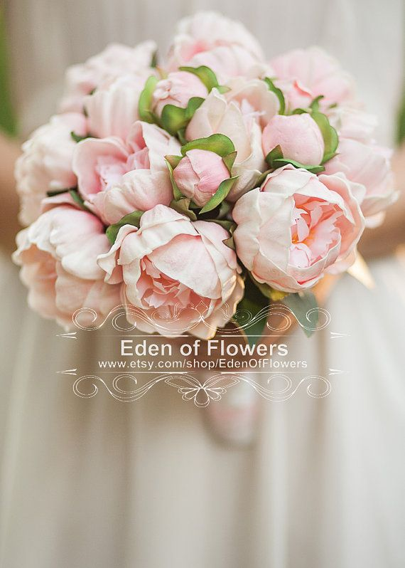Real Touch Peony Bridal Bouquet Silk Artificial by EdenOfFlowers