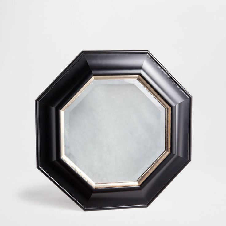 Octagonal mirror with golden edge