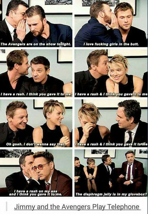 Cast of AoU playing Telephone