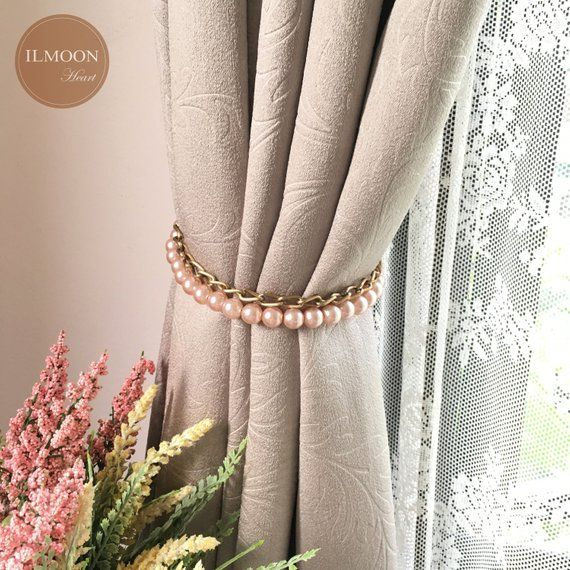 Pairx2 Curtain Tie Back Pink And Gold Decor Ideas Blush Etsy