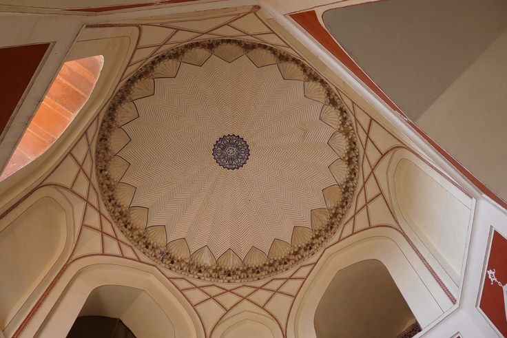 Ceiling of Humayan's tomb, Delhi.  The beautiful design and shapes are from Arabic geometry and mathematics.