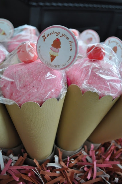 "Ice Cream Parlor {Ice Cream & the Cherry on Top}Party...favors are so simple so make with pink snowballs for the 'ice cream"" and a gumball for the cherry on top"