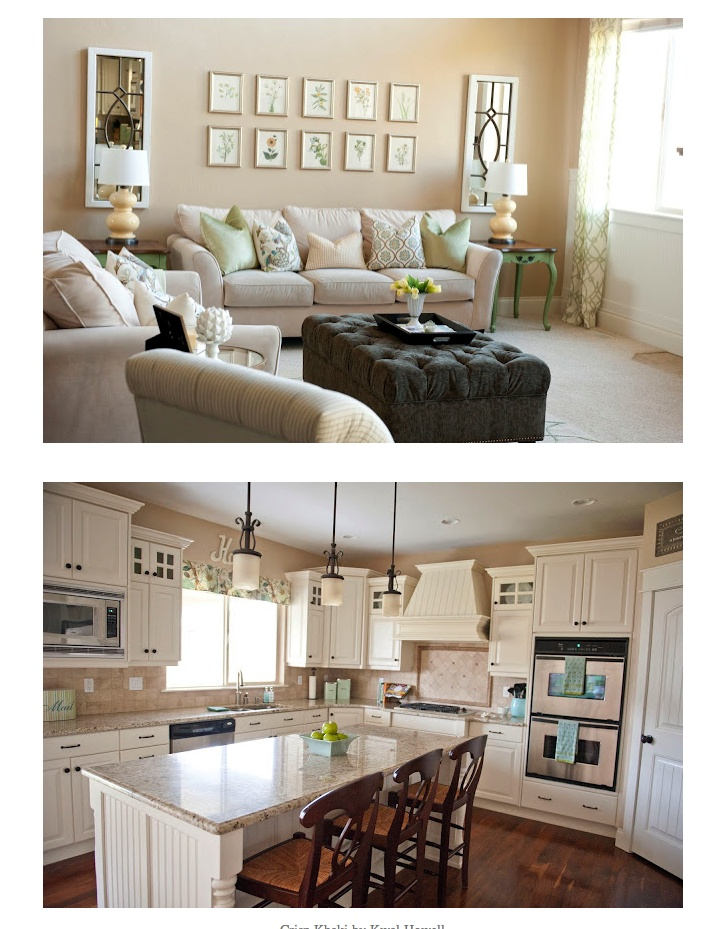 Crisp Khaki by Kwal Howell Kitchen Cabinets are painted  Balsa  by