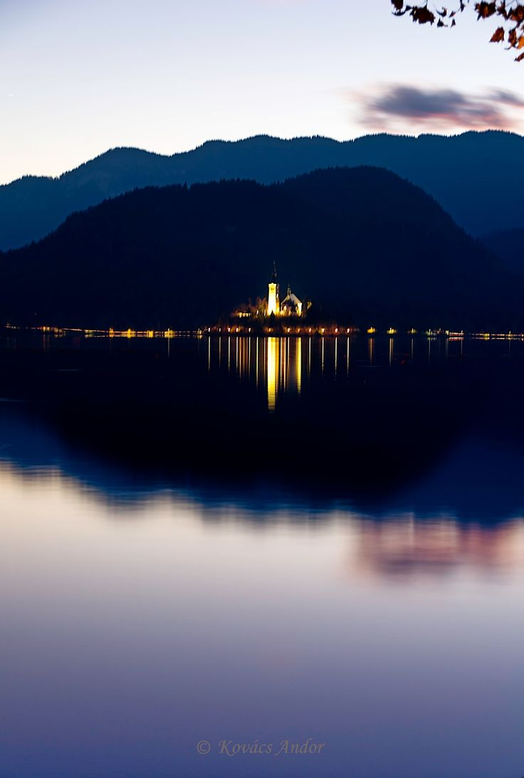 Night lights on Bled Lake - null