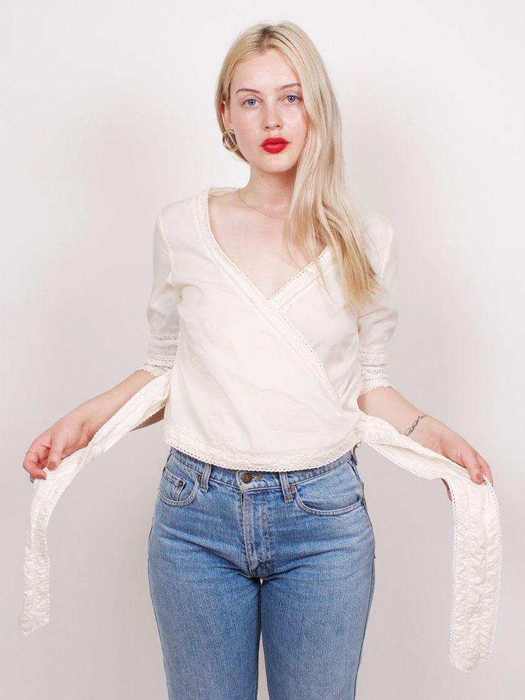 graceland collection vintage white cotton lace wrap top