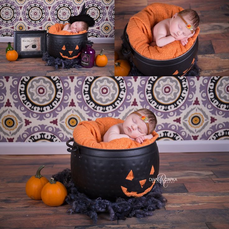 Halloween Newborn photo idea, Halloween photography props,  Metal pumpkin bucket, jack-o-lantern prop, halloween, newborn, newborn witch, fall newborn photography ideas @diannacapkaphoto www.diannacapkaphotography.com