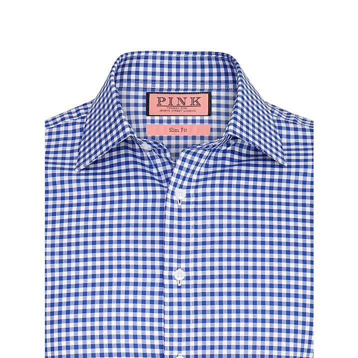 Buy Thomas Pink Kilmoray Gingham Check Shirt, Navy/White, 14 Online at johnlewis.com