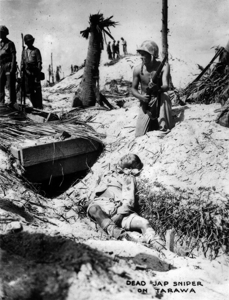 "The original caption is short and to the point: ""Dead Jap sniper on Tarawa."" The Battle of Tarawa (US code name Operation Galvanic) was a battle in the Gilbert Islands, in the Pacific Theater. Largely fought from November 20 to November 23, 1943, it was the first American offensive in the critical central Pacific region."