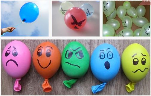 Anger Management Balloon Activities...could fill with sand or similar to squish...