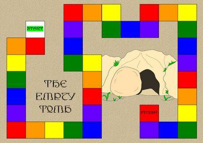 Het Lege Graf spel. Doel: eerste bij het lege graf. Gebruik spinner. Ga naar eerste vlg vak in die kleur. // Empty Tomb Game. Use spinner. Move to that color (the next one along). First one to the tomb wins.