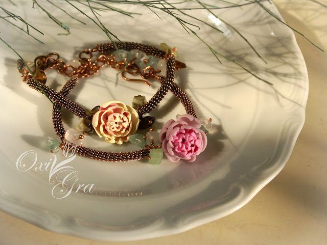 #oxigra #bransoletka #miedź #miedziana #bracelets #wirewrapping #copper #clay #peony