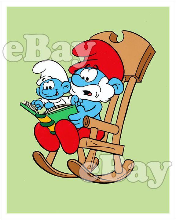 Rare! THE SMURFS Cartoon Color Photo HANNA BARBERA Studios PAPA & BABY