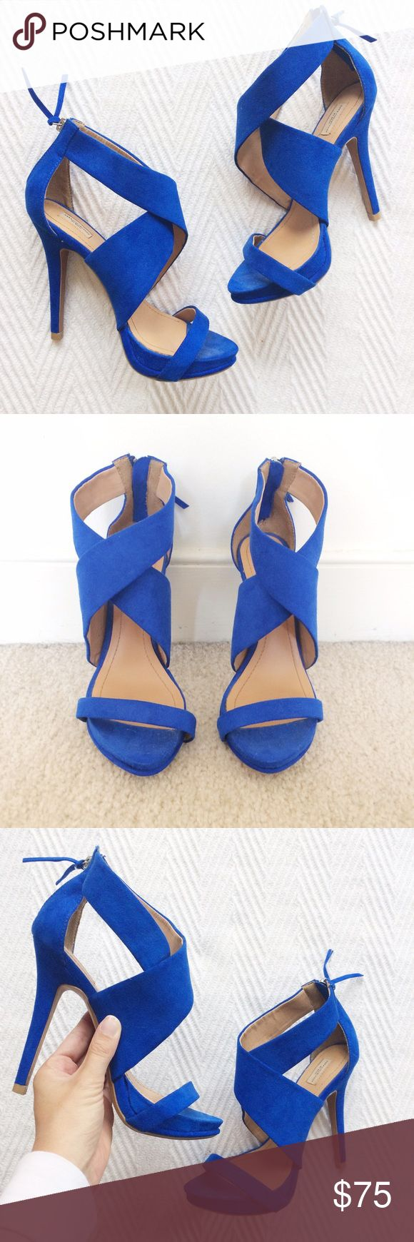 Zara Blue Strappy Sandals Only worn once! Still in perfect condition!! Royal Blue suede. Gorgeous statement heels. Can ship same- day as purchase! Zara Shoes Sandals