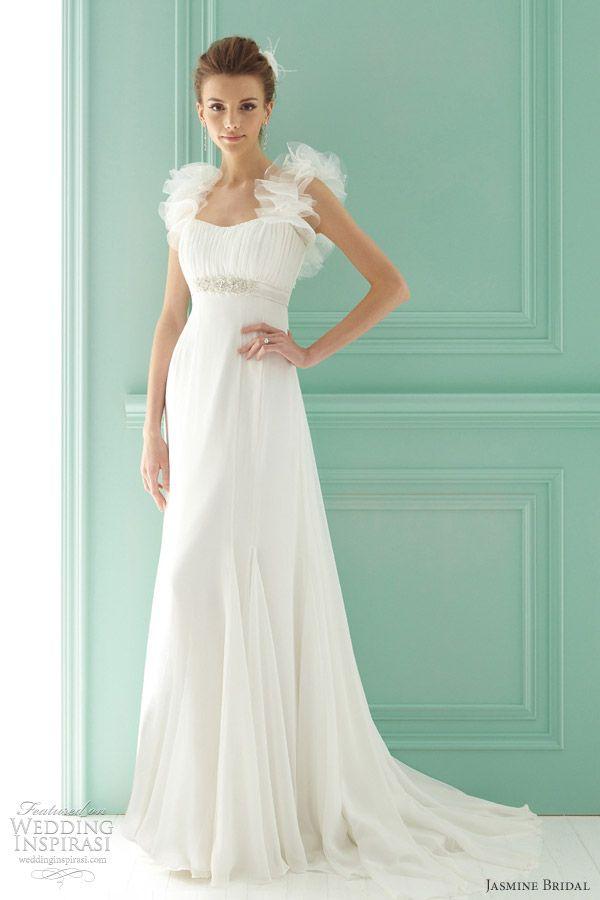 http://weddinginspirasi.com/2012/02/04/jasmine-bridal-2012-wedding-dresses/ jasmine #bridal gowns #wedding #weddings #weddingdress #empireweddingdress