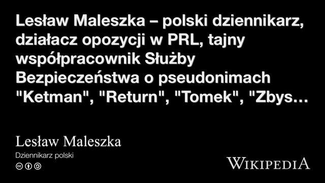 """""""Lesław Maleszka"""" på @Wikipedia:"""