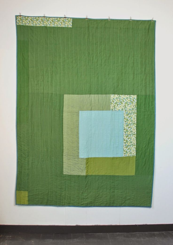 "mūsu quilts: Quilt. Pea green and aqua square. Inspired by Josef Albers squarestudies. Shotcotton, Liberty Tana Lawn. 52"" x 72""."