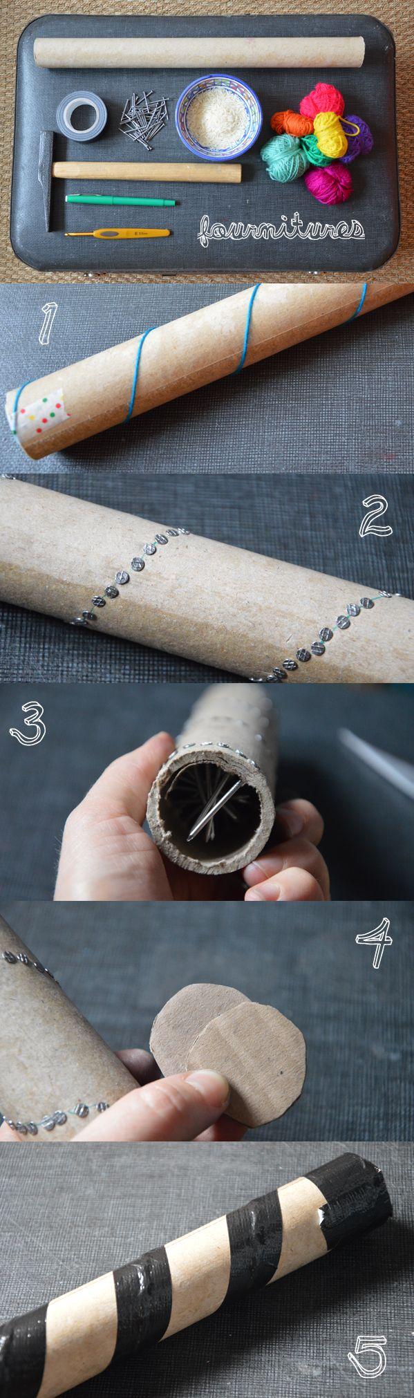 methode pour un baton de pluie en carton recouvert au crochet