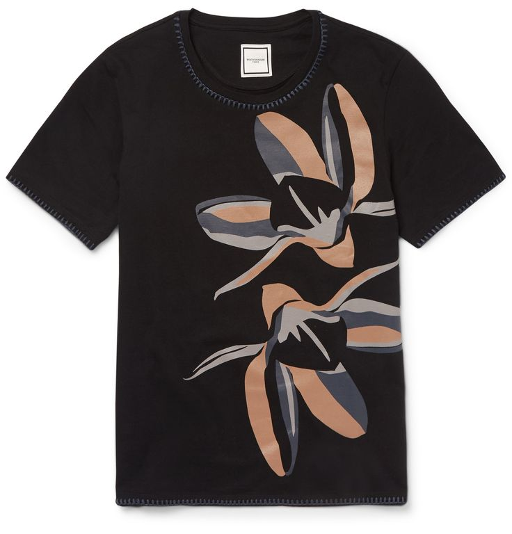 'An escape from the mundane' is how <a href='http://www.mrporter.com/mens/Designers/Wooyoungmi'>Wooyoungmi</a> describes its aesthetic. This black cotton-jersey T-shirt is a prime example of that ethos, detailed with a coated floral motif in masculine beige, grey and navy hues. Whipstitched trims at the collar and cuffs define the easy-going regular-cut silhouette.
