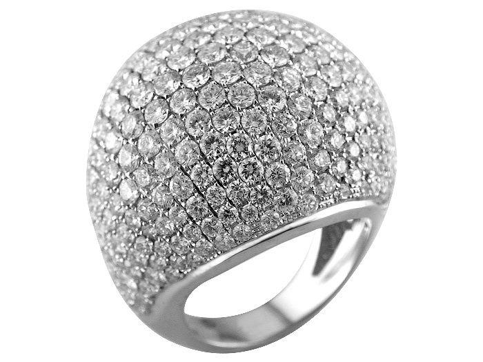 Dome design 18K white gold ring set with 12.27carat diamonds