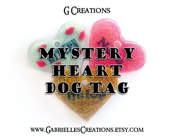 Mystery Heart DogTag 3.8 cm - Cute Surprise Design Handmade Pet ID - Resin - Colorful - Glitter Glow in the Dark Dog Collar Accessory - SALE