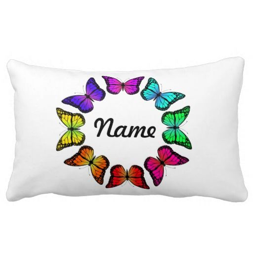 PERSONALIZE ME! Rainbow Butterfly Lumbar Pillow - Add your name to this beautiful butterfly pillow, play with the font style and type to make it uniquely yours! The other side has lots of little butterflies fluttering around.