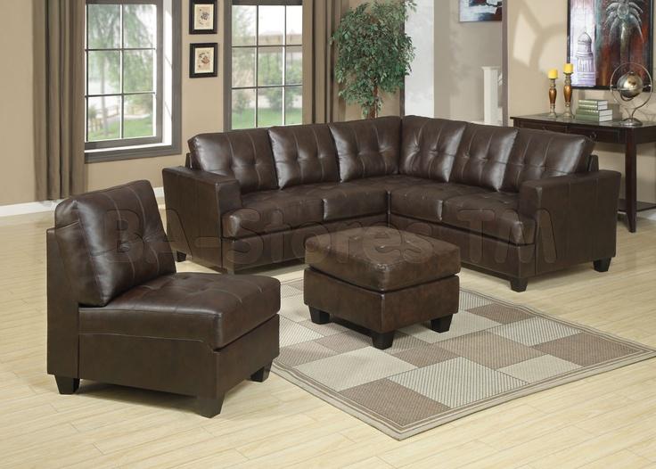 diamond brown bonded leather 3 pc sectional sofa set acme furniture