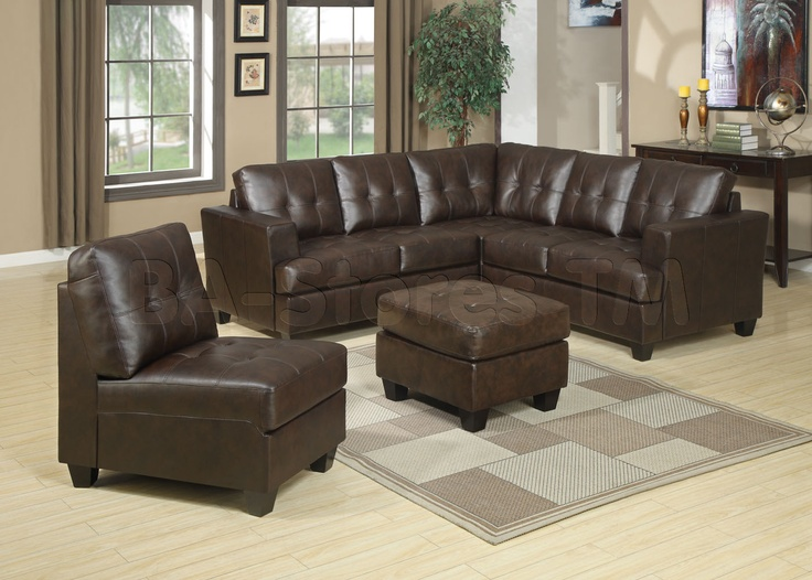 Diamond furniture living room sets diamond brown bonded leather 3 pc