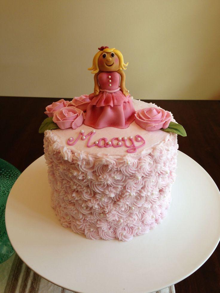Little Girl Fondant Buttercream Princess Birthday Cake
