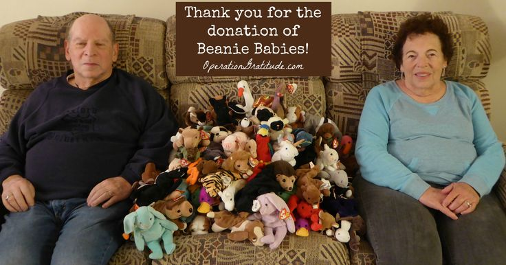 We're grateful for donations of small, plus toys -- like Beanie Babies! -- and we put one in every Operation Gratitude Care Package we send to deployed U.S. Service Members. Learn why: https://opgrat.wordpress.com/2013/06/09/beanie-babies-for-the-troops/