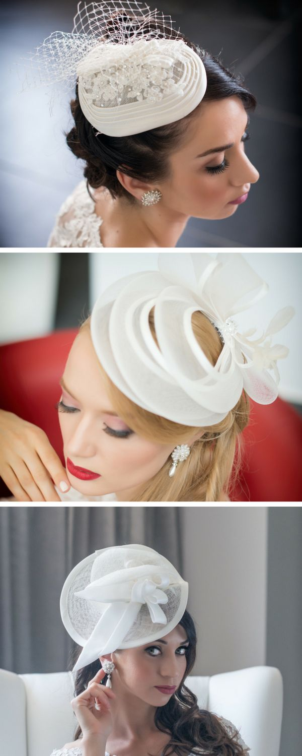 Bridal hats and fascinator available  ship worldwide http://www.momentisposi.it/tema-matrimonio/moda-bridal-2017-cappello-sposa/