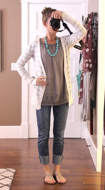 Rolled jeans + long tee shirt + long sweater + colored chunky necklace + flats. Oh how super cute and simple