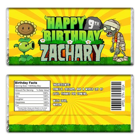 plants vs zombies custom candy bar wrapper - Zombie Party Supplies