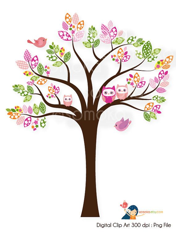 Sweet bird and tree clipart set with cute little owl ...