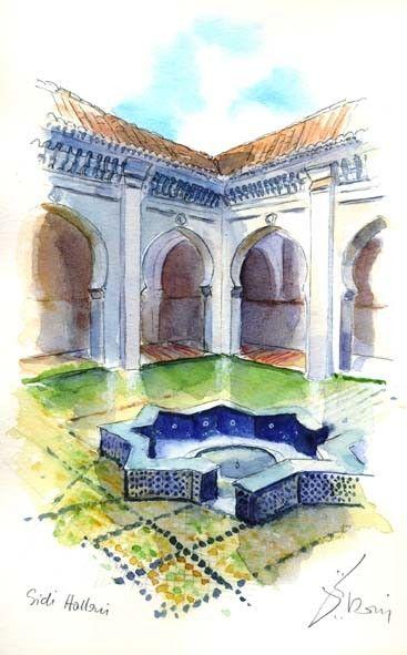 Tlemcen - Mosquée Sidi Halloui - Peinture, 30x40 cm ©2008 par Catherine Rossi -