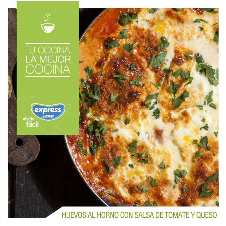 Huevos al horno con tomates y queso / #Food #Foodporn #Recetario #RecetarioExpress #ExpressdeLider #Huevos #Queso