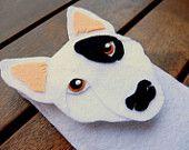 iPhone Case Bull Terrier - Dog Felt Phone Cover -  Cell Phone Sleeve - Handmade felt case gray